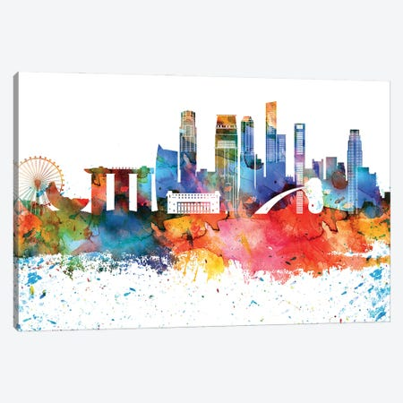 Singapore Colorful Watercolor Skyline Canvas Print #WDA1371} by WallDecorAddict Canvas Wall Art