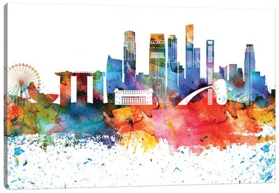 Singapore Colorful Watercolor Skyline Canvas Art Print