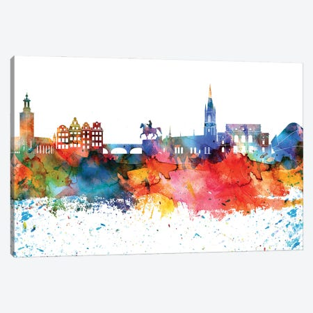 Stockholm Colorful Watercolor Skyline Canvas Print #WDA1372} by WallDecorAddict Canvas Wall Art