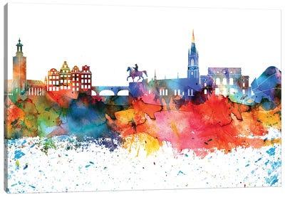 Stockholm Colorful Watercolor Skyline Canvas Art Print