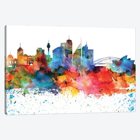 Sydney Colorful Watercolor Skyline Canvas Print #WDA1373} by WallDecorAddict Canvas Wall Art