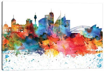 Sydney Colorful Watercolor Skyline Canvas Art Print