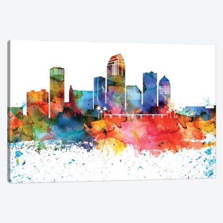 Tampa Colorful Watercolor Skyline Canvas Print #WDA1375} by WallDecorAddict Art Print