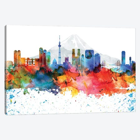 Tokyo Colorful Watercolor Skyline Canvas Print #WDA1376} by WallDecorAddict Canvas Print