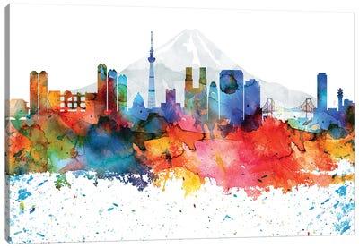 Tokyo Colorful Watercolor Skyline Canvas Art Print