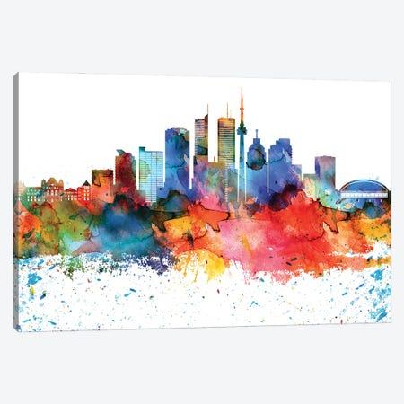 Toronto Colorful Watercolor Skyline Canvas Print #WDA1378} by WallDecorAddict Canvas Artwork