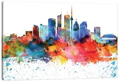 Toronto Colorful Watercolor Skyline Canvas Art Print