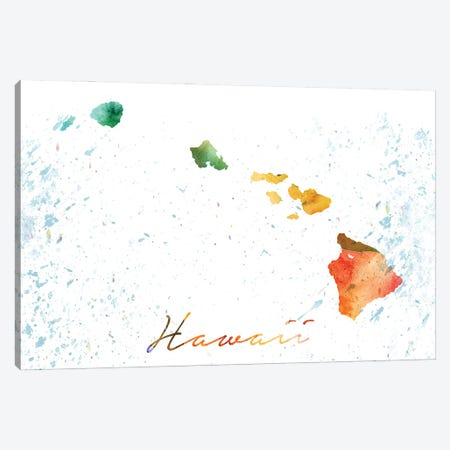 Hawaii State Colorful Canvas Print #WDA137} by WallDecorAddict Canvas Artwork