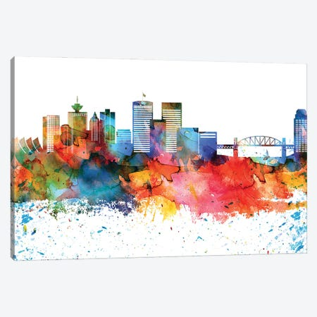 Vancouver Colorful Watercolor Skyline Canvas Print #WDA1380} by WallDecorAddict Art Print