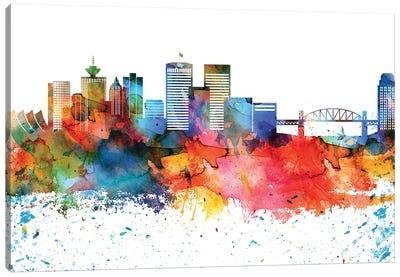 Vancouver Colorful Watercolor Skyline Canvas Art Print