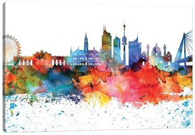 Vienna Colorful Watercolor Skyline Canvas Art Print
