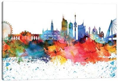 Vienna Colorful Watercolor Skyline Canvas Art Print