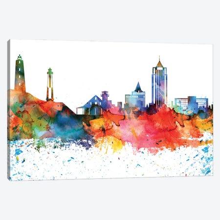 Virginia Colorful Watercolor Skyline Canvas Print #WDA1383} by WallDecorAddict Canvas Art Print