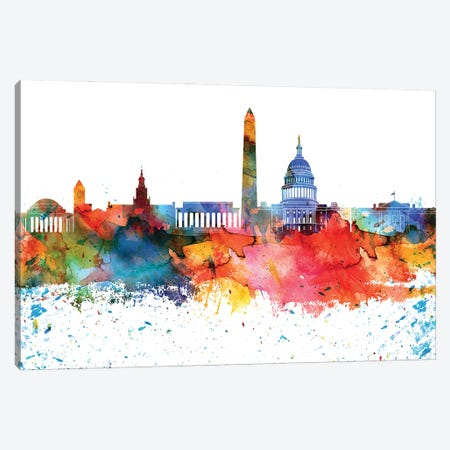 Washington Colorful Watercolor Skyline Canvas Print #WDA1385} by WallDecorAddict Canvas Art