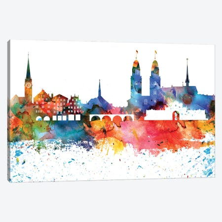 Zurich Colorful Watercolor Skyline Canvas Print #WDA1388} by WallDecorAddict Canvas Art Print