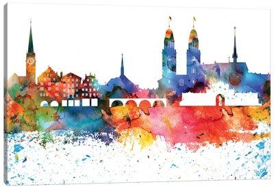 Zurich Colorful Watercolor Skyline Canvas Art Print
