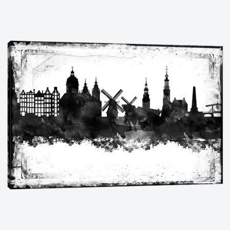 Amsterdam Black & White Film Canvas Print #WDA1390} by WallDecorAddict Canvas Art