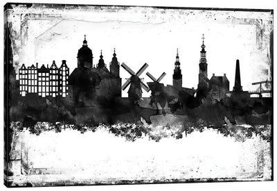 Amsterdam Black & White Film Canvas Art Print