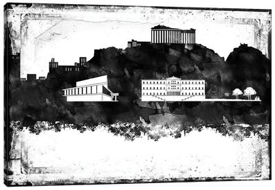 Athens Black & White Film Canvas Art Print