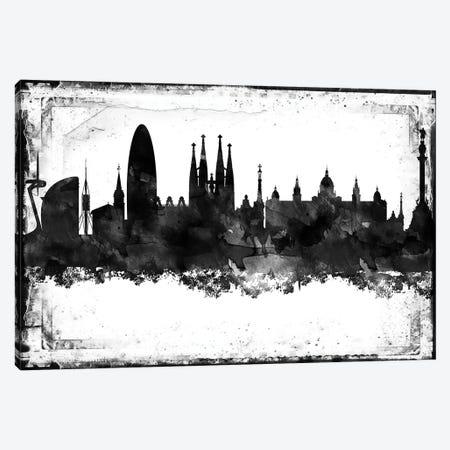 Barcelona Black & White Film Canvas Print #WDA1396} by WallDecorAddict Art Print