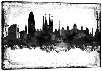 Barcelona Black & White Film Canvas Art Print