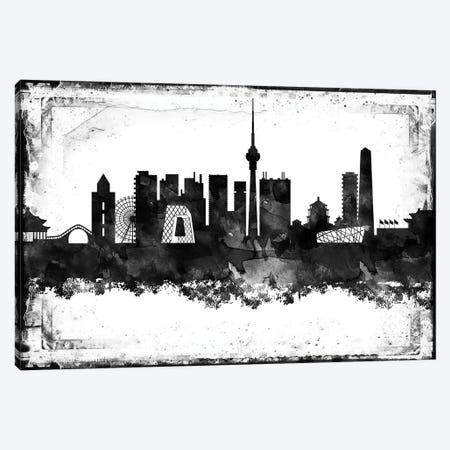 Beijing Black & White Film Canvas Print #WDA1397} by WallDecorAddict Canvas Art Print