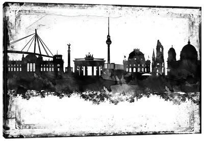 Berlin Black & White Film Canvas Art Print