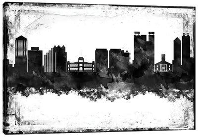 Honolulu Black And White Framed Skylines Canvas Art Print