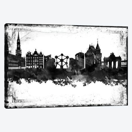 Brussels Black & White Film Canvas Print #WDA1401} by WallDecorAddict Canvas Wall Art