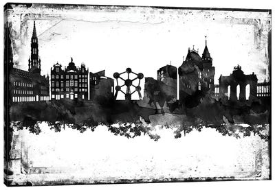 Brussels Black & White Film Canvas Art Print