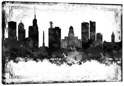 Buffalo Black & White Film Canvas Art Print