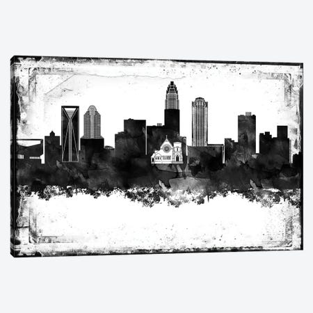 Charlotte Black & White Film Canvas Print #WDA1409} by WallDecorAddict Canvas Wall Art