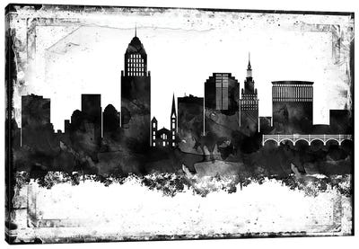 Cleveland Black & White Film Canvas Art Print
