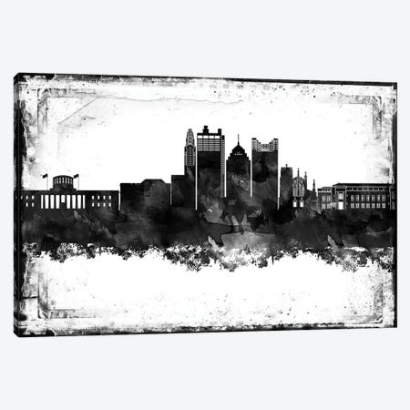 Columbus Black & White Film Canvas Print #WDA1413} by WallDecorAddict Art Print
