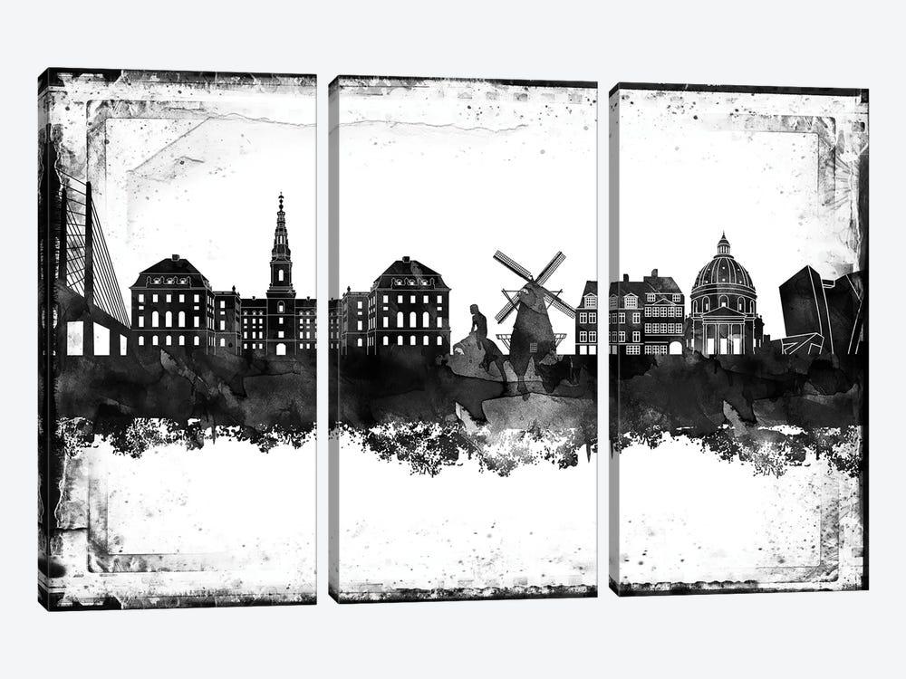 Copenhagen Black & White Film by WallDecorAddict 3-piece Canvas Artwork