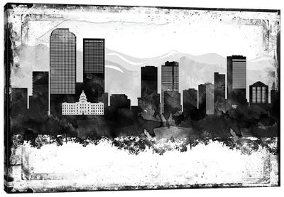 Denver Black & White Film Canvas Art Print