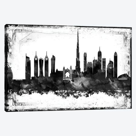Dubai Black & White Film Canvas Print #WDA1418} by WallDecorAddict Canvas Print