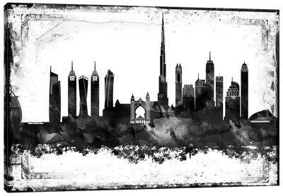 Dubai Black & White Film Canvas Art Print