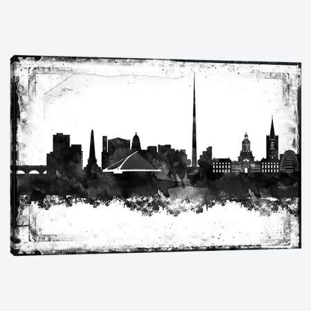 Dublin Black & White Film Canvas Print #WDA1419} by WallDecorAddict Canvas Art Print