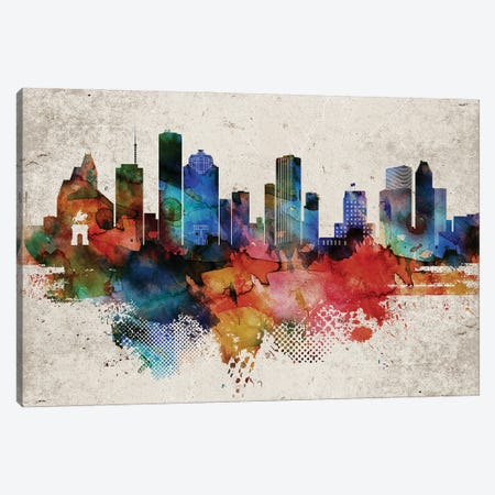 Houston Abstract Canvas Print #WDA142} by WallDecorAddict Canvas Wall Art