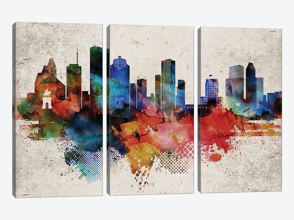 Houston Abstract by WallDecorAddict 3-piece Canvas Wall Art