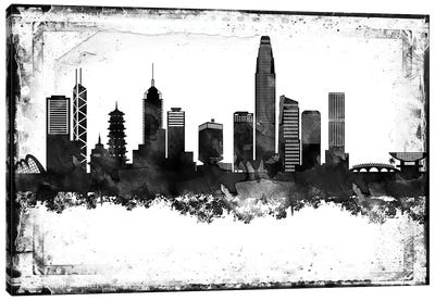 Hong Kong Black & White Film Canvas Art Print