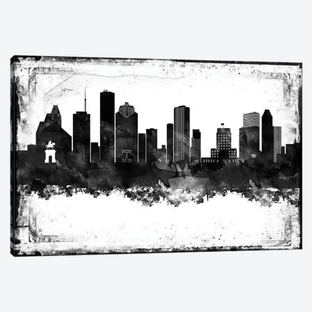 Houston Black And White Framed Skylines Canvas Print #WDA143} by WallDecorAddict Canvas Artwork