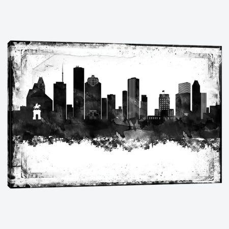 Houston Black And White Framed Skylines Canvas Print #WDA143} by WallDecorAddict Canvas Artwork