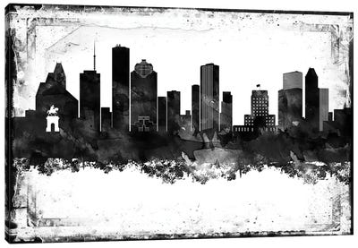 Houston Black And White Framed Skylines Canvas Art Print
