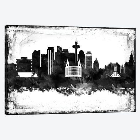 Liverpool Black & White Film Canvas Print #WDA1440} by WallDecorAddict Canvas Art
