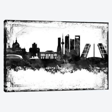 Madrid Black & White Film Canvas Print #WDA1444} by WallDecorAddict Art Print