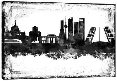 Madrid Black & White Film Canvas Art Print