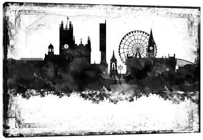 Manchester Black & White Film Canvas Art Print