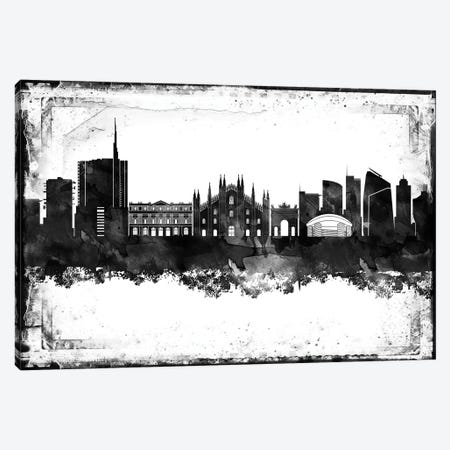 Milan Black & White Film Canvas Print #WDA1448} by WallDecorAddict Canvas Artwork